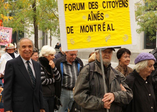 Seniors protesting in Montreal