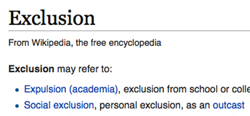 """""""exclusion' term on Wikipedia"""